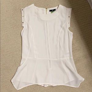 H&M White Peplum Gold stud blouse shirt